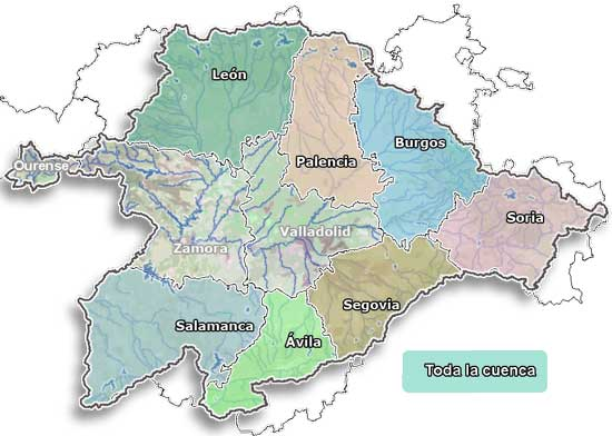 Cuenca Del Duero Mapa.Datos De Agua Embalsada Chduero
